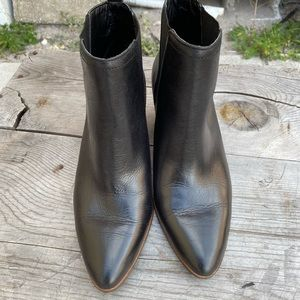 Lucky Brand black pointy leather booties